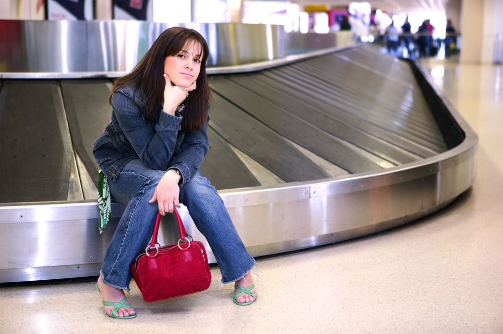 Woman sitting in an airport